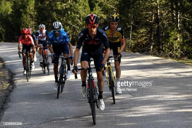 Adam Yates of United Kingdom and Team INEOS Grenadiers, Sepp Kuss of United States and Team Jumbo - Visma, Alejandro Valverde Belmonte of Spain and...
