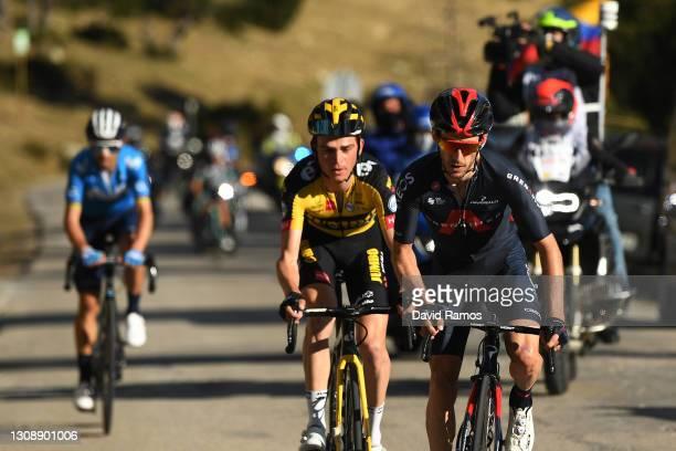 Adam Yates of United Kingdom and Team INEOS Grenadiers, Sepp Kuss of United States and Team Jumbo - Visma & Alejandro Valverde Belmonte of Spain and...