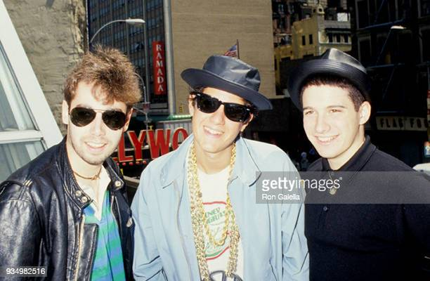 Adam Yauch Adam Horovitz and Mike Diamond of the Beastie Boys attend a Press Conference on May 11 1987 at B Smith's Restaurant in New York City