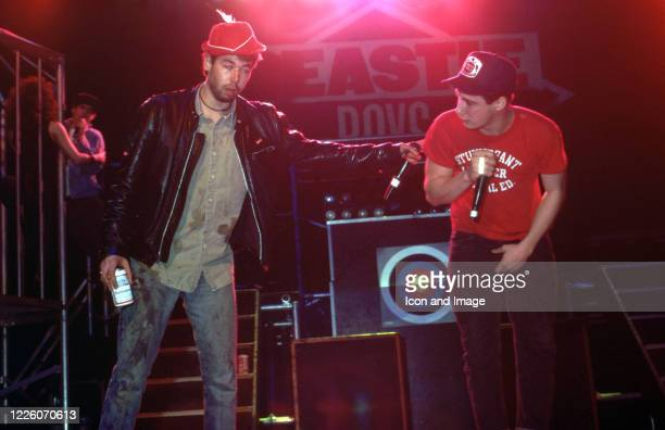 Adam Yauch and Adam Horovitz of the Beastie Boys perform with Mike Diamond rapping in the background during their Together Forever Tour on July 29 at...