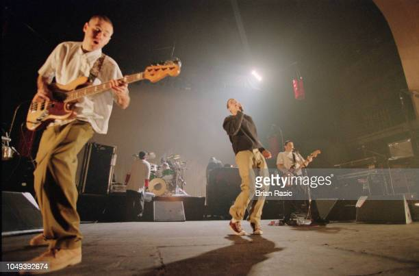 Adam Yauch Mike D and AdRock of American rap group Beastie Boys perform live on stage at Brixton Academy in London on 3rd March 1995