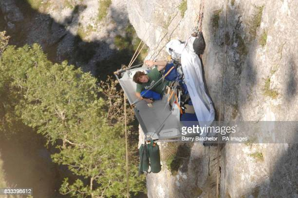 Adam Young in his 'home' for seven days and nights on a rock face 315 feet up Cheddar Gorge Somerset where he is staying to raise money in memory of...