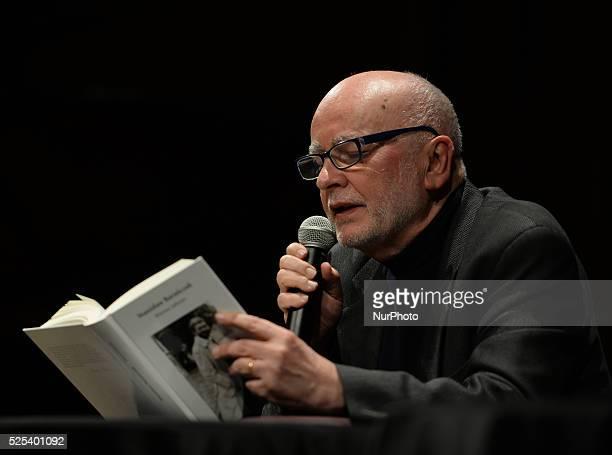 Adam Zagajewski a Polish poet novelist translator and essayist during an evening of Stanislaw Baranczak's poetry at the Museum of Japanese Art and...