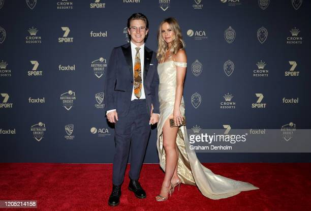 Adam Zampa and finace Harriet Palmer arrive ahead of the 2020 Cricket Australia Awards at Crown Palladium on February 10 2020 in Melbourne Australia