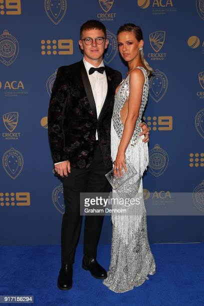 Adam Zampa and Harriet Palmer arrive at the 2018 Allan Border Medal at Crown Palladium on February 12 2018 in Melbourne Australia