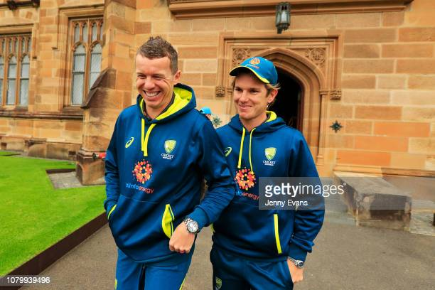 Adam Zampa and Peter Siddle of Australia share a laugh after a press conference during the Cricket Australia Fan Day at the University of Sydney on...