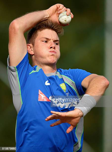 Adam Zampa of Australia bowls during an Australian nets session ahead of the ICC 2016 Twenty20 World Cup on March 16 2016 in Dharamsala India