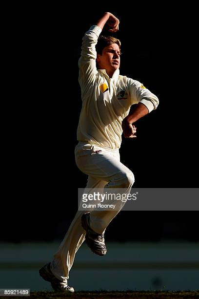 Adam Zampa of Australia bowls during day three of the three Day International match between Australia and India at Bellerive Oval on April 13 2009 in...