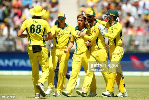 Adam Zampa of Australia celebrates a wicket with team mates during game five of the One Day International match between Australia and England at...