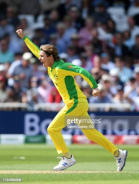 Adam Zampa of Australia celebrates after taking the wicket of Nicholas Pooran of West Indies during the Group Stage match of the ICC Cricket World...