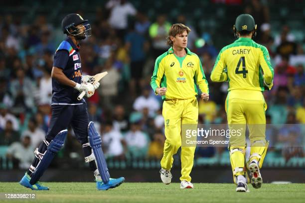 Adam Zampa of Australia celebrates dismissing KL Rahul of India during game two of the One Day International series between Australia and India at...