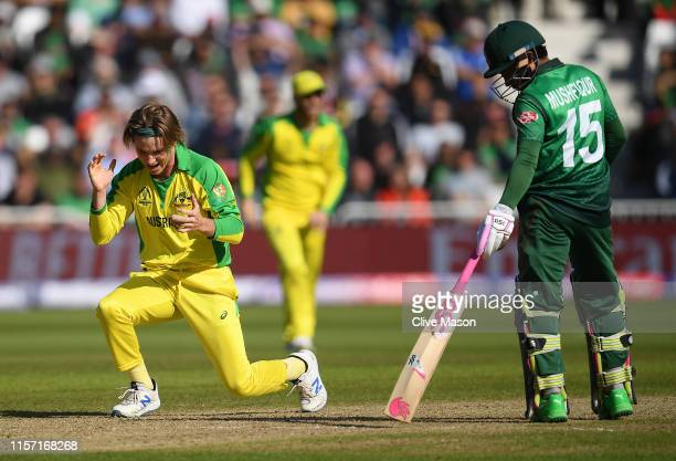 Adam Zampa of Australia celebrates dismissing Liton Das of Bangladesh during the Group Stage match of the ICC Cricket World Cup 2019 between...
