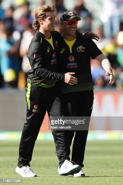 Adam Zampa of Australia celebrates taking a wicket with team mate David Warner of Australia during the Twenty20 International match between Australia...