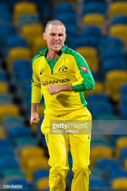 Adam Zampa of Australia celebrates the dismissal of Jason Mohammed of West Indies during the 2nd ODI between West Indies and Australia at Kensington...