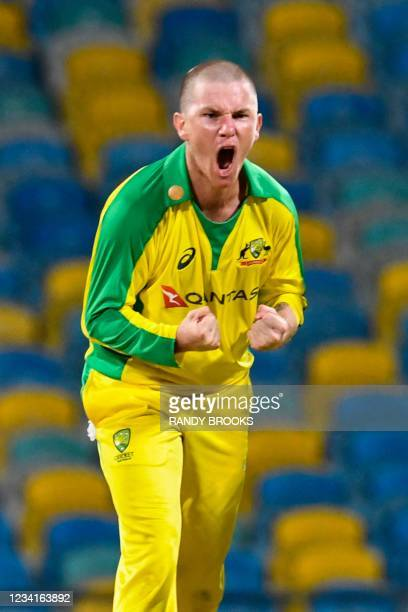 Adam Zampa of Australia celebrates the dismissal of Kieron Pollard of West Indies during the 2nd ODI between West Indies and Australia at Kensington...