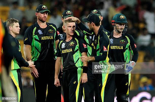 Adam Zampa of Australia celebrates the wicket of Shuvagata Hom Chowdhury of Bangladesh during the ICC World Twenty20 India 2016 match between...