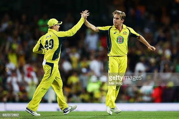 Adam Zampa of Australia celebrates with Steve Smith after taking the wicket of Mohammad Hafeez of Pakistan during game four of the One Day...