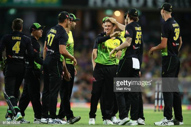 Adam Zampa of Australia celebrates with team mates after taking the wicket of Tom Blundell of New Zealand during game one of the International...