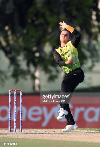 Adam Zampa of Australia in bowling action during the India and Australia warm Up Match prior to the ICC Men's T20 World Cup at on October 20, 2021 in...