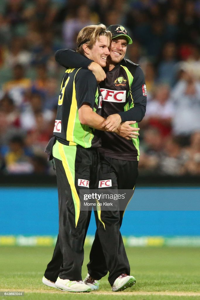 Adam Zampa of Australia is congratulated by teammate Aaron Finch after Zampa got the wicket of Dasun Shanaka of Sri Lanka during the International Twenty20 match between Australia and Sri Lanka at Adelaide Oval on February 22, 2017 in Adelaide, Australia.