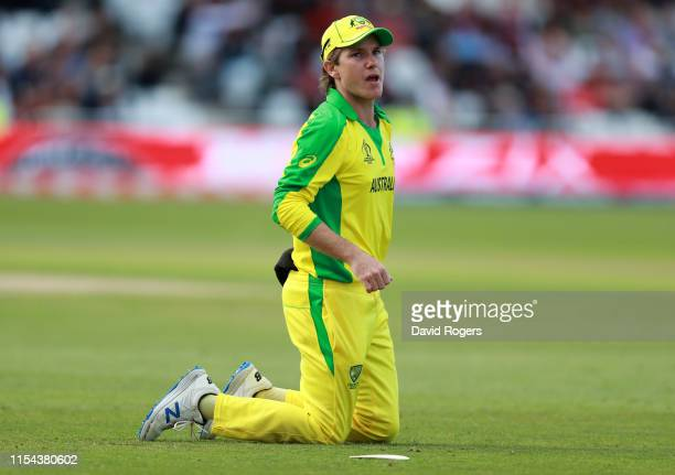 Adam Zampa of Australia looks on during the Group Stage match of the ICC Cricket World Cup 2019 between Australia and the West Indies at Trent Bridge...