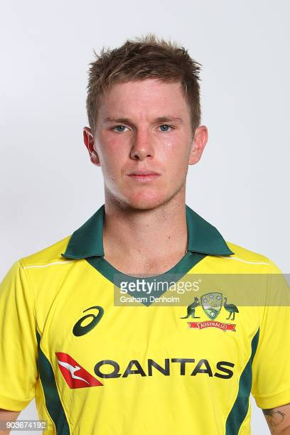 Adam Zampa of Australia poses during an Australia One Day International headshots session at the Melbourne Cricket Ground on January 11 2018 in...