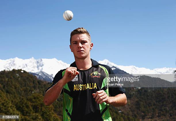 Adam Zampa of Australia poses in front of the Himalayas during an Australian portrait session ahead of the ICC 2016 Twenty20 World Cup on March 16...