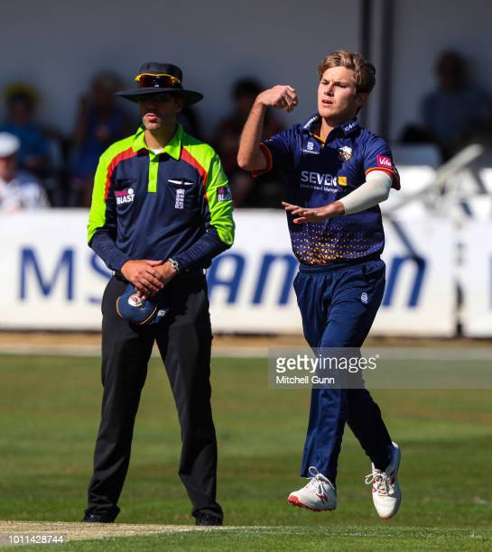 Adam Zampa of Essex bowling during the Vitality Blast T20 match between Essex Eagles and Surrey at The Cloud FM Cricket Ground on August 5 2018 in...
