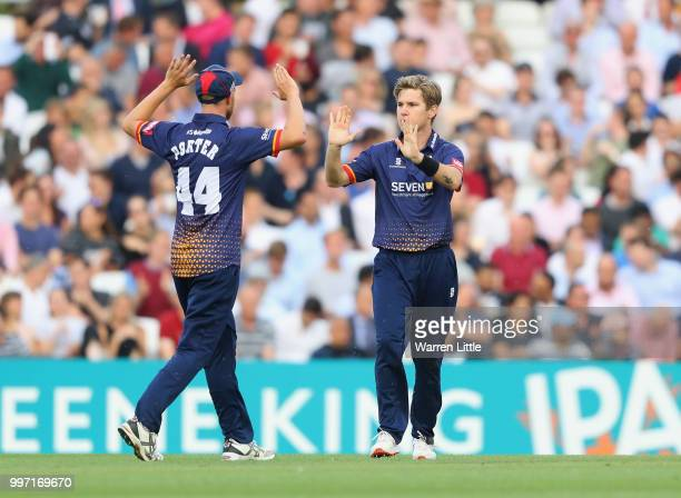 Adam Zampa of Essex Eagles celebrates catching Aaron Finch of Surrey during the Vitality Blast match between Surrey and Essex Eagles at The Kia Oval...