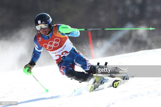 Adam Zampa of Slovakia competes during the Men's Slalom on day 13 of the PyeongChang 2018 Winter Olympic Games at Yongpyong Alpine Centre on February...