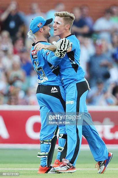 Adam Zampa of the Adelaide Strikers celebrates after getting the wicket of Michael Carberry of the Perth Scorchers during the Big Bash League match...