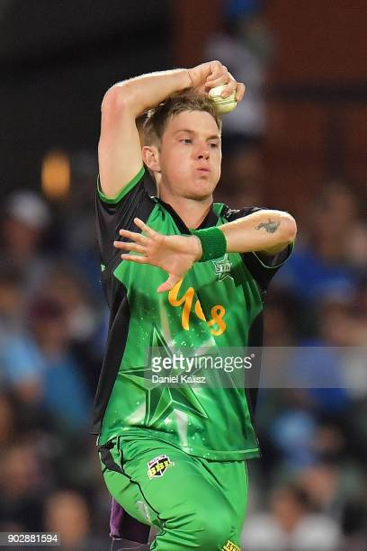 Adam Zampa of the Melbourne Stars bowls during the Big Bash League match between the Adelaide Strikers and the Melbourne Stars at Adelaide Oval on...