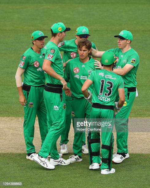 Adam Zampa of the Melbourne Stars celebrates taking the wicket of Dawid Malan of the Hurricanes during the Big Bash League match between the...