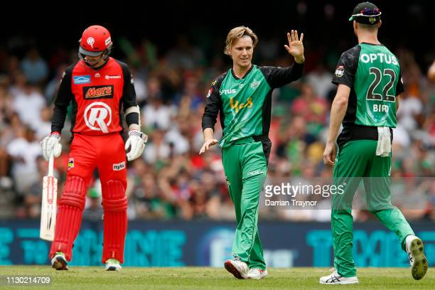 Adam Zampa of the Melbourne Stars celebrates the wicket of Mackenzie Harvey of the Renegades during the Big Bash League Final match between the...