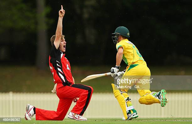 Adam Zampa of the Redbacks appeals during the Matador BBQs One Day Cup match between the Cricket Australia via Getty Images XI and South Australia at...