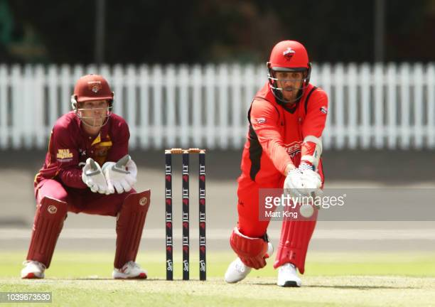 Adam Zampa of the Redbacks bats during the JLT One Day Cup match between South Australia and Queensland at Hurstville Oval on September 25 2018 in...