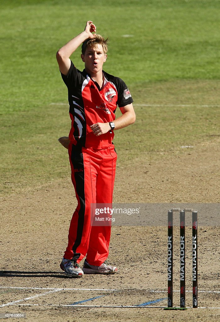 Adam Zampa of the Redbacks reacts during the Matador BBQs One Day Cup match between Tasmania and South Australia at North Sydney Oval on October 22, 2014 in Sydney, Australia.