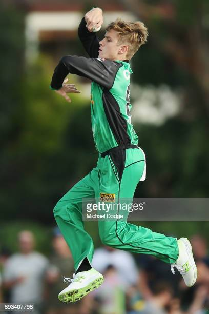 Adam Zampa of the Stars bowls during the Twenty20 BBL practice match between the Melbourne Stars and the Hobart Hurricanes at Traralgon Recreation...