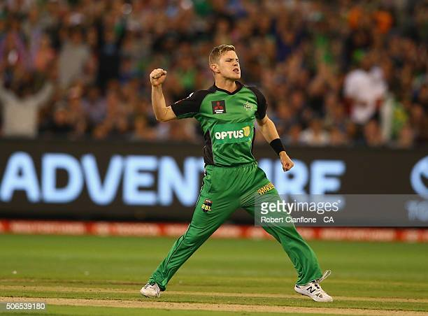 Adam Zampa of the Stars celebrates after taking the wicket of Mike Hussey of the Thunder during the Big Bash League final match between Melbourne...