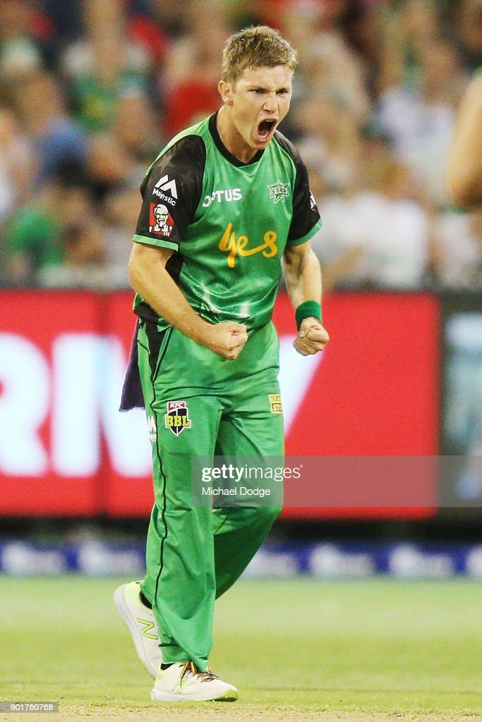 Adam Zampa of the Stars celebrates the wicket of Aaron Finch of the Renegades during the Big Bash League match between the Melbourne Stars and the Melbourne Renegades at Melbourne Cricket Ground on January 6, 2018 in Melbourne, Australia.