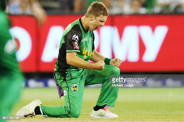 Adam Zampa of the Stars celebrates the wicket of Aaron Finch of the Renegades during the Big Bash League match between the Melbourne Stars and the...
