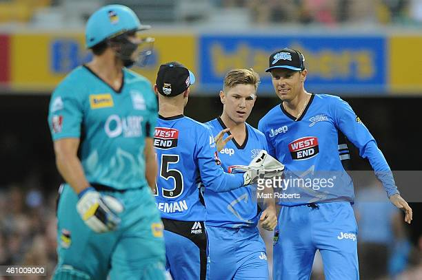 Adam Zampa of the Strikers celebrates the wicket of Peter Forrest of the Heat during the Big Bash league match between the Brisbane Heat and the...