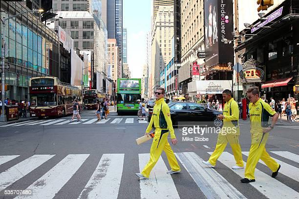 Adam Zampa Steve Smith and Usman Khawaja of the Australian cricket team tour New York City on May 28 2016 in New York City