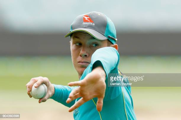Adam Zampa takes part in catching practice during the Australian nets session at the on January 13 2018 in Melbourne Australia