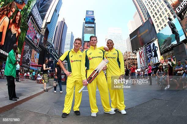 Adam Zampa Usman Khawaja and Steve Smith of the Australian cricket team tour New York City on May 28 2016 in New York City