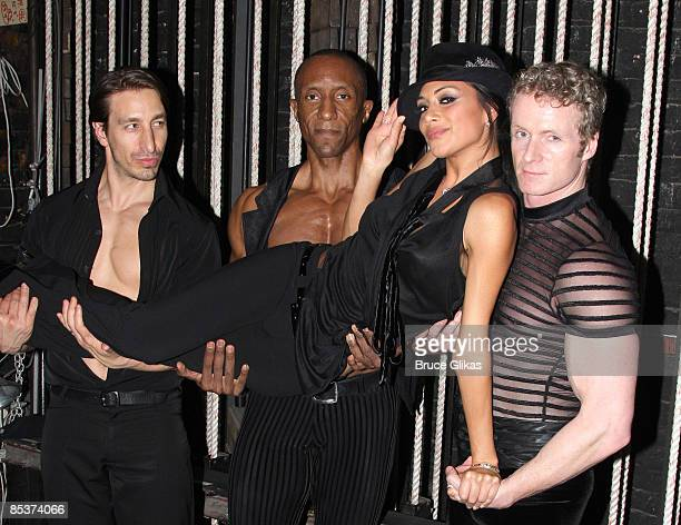 Adam Zotovich Gregory Butler The Pussycat Doll's lead singer Nicole Scherzinger and Brian O'Brien pose backstage at 'Chicago' on Broadway at The...