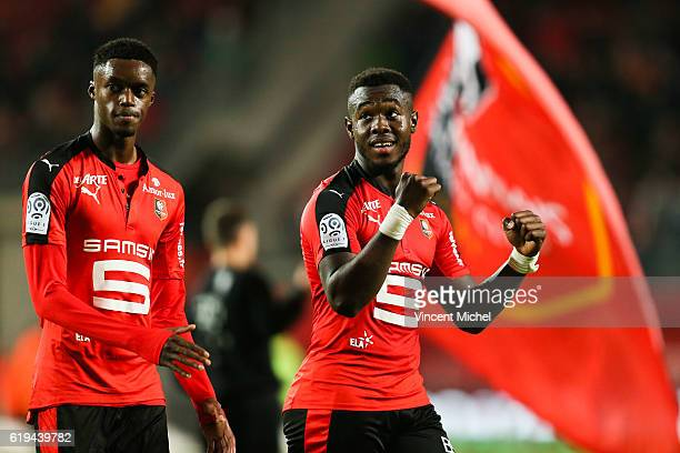 Adama Diakhaby and Joris Gnagnon of Rennes during the French Ligue 1 match between Rennes and Metz at Stade de la Route de Lorient on October 30 2016...