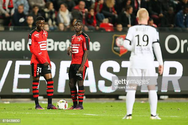 Adama Diakhaby and Paul Georges Ntep of Rennes during the French Ligue 1 match between Rennes and Metz at Stade de la Route de Lorient on October 30...