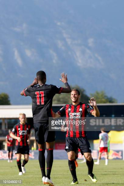 Adama Diakhaby and Ramadan Sobhi of Huddersfield Town during the preseason friendly between Huddersfield Town and RB Leipzig on 03 August in Schwaz...