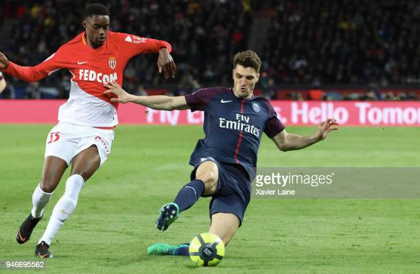 Adama Diakhaby of AS Monaco in action against Thomas Meunier of Paris SaintGermain in action during the Ligue 1 match between Paris Saint Germain and...